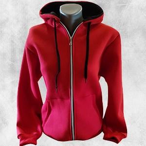 zenska duks jakna crvena crna