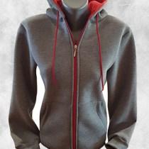 Zenska duks jakna tamno siva crvena