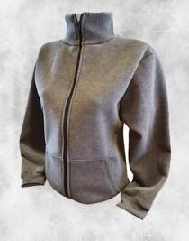 ženska duks jakna siva sa kragnom