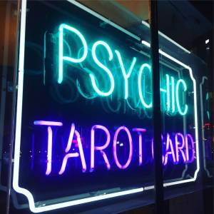 Psychic tarot card neon sign