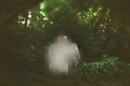 The White Lady walking through the forest