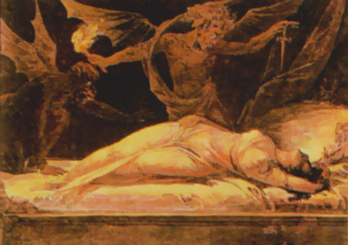 Image of an incubus in a woman's nightmare