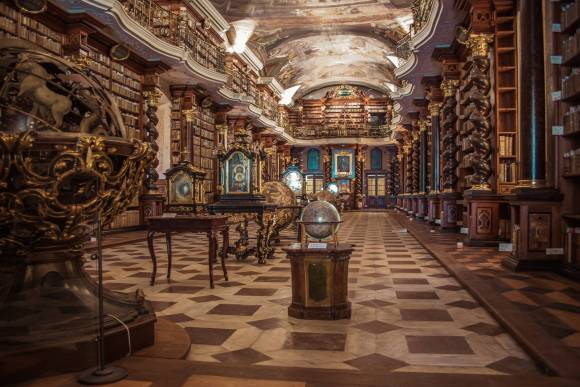 Old library filled with ancient books