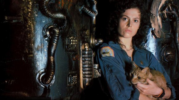 Ripley from alien movie holding a cat
