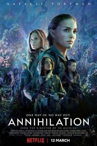Annihilation horror movie poster with scary sci-fi landscape