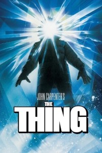 The Thing 1982 sci-fi horror movie poster featuring a man in an arctic suit with beams of light coming through his head