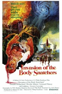 Invasion of the Body Snatchers 1978 movie poster featuring aliens and a person in a cocoon