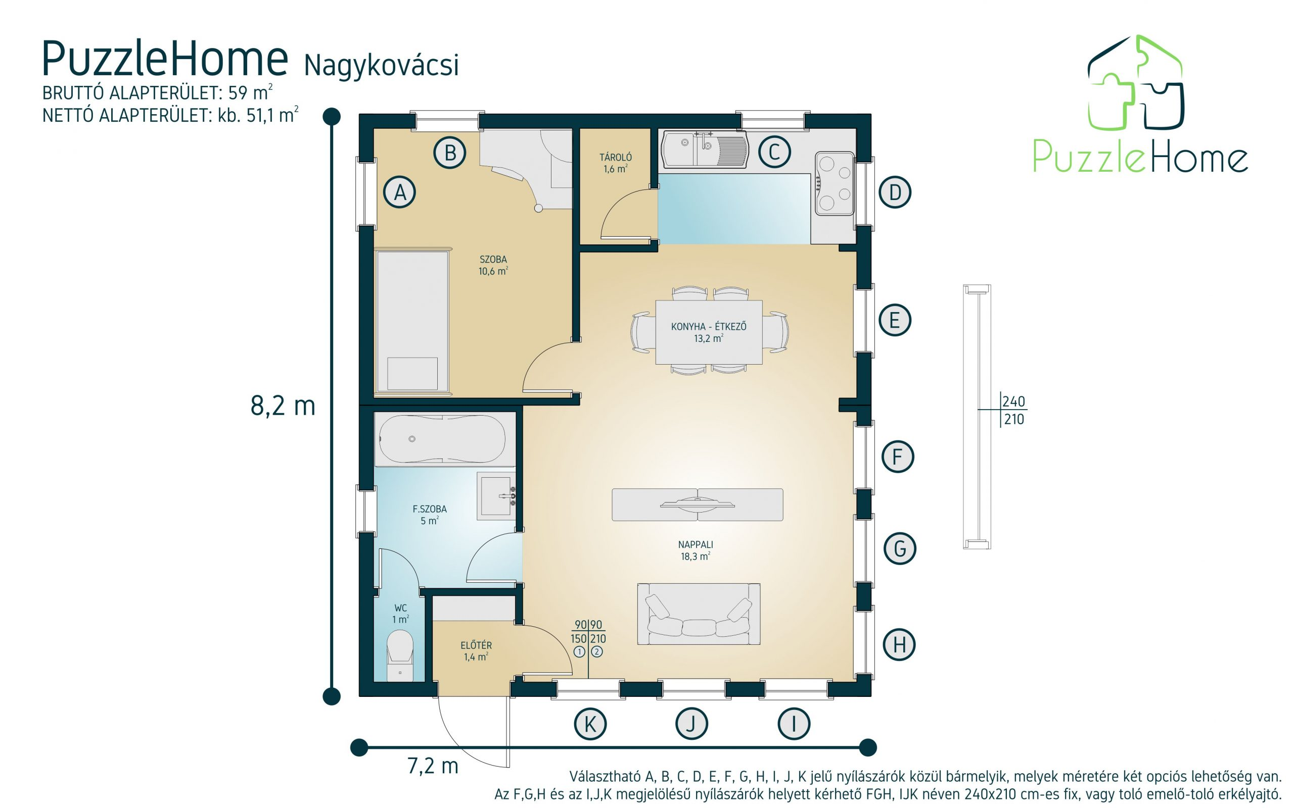 Nagykovácsi családi ház típusterv alaprajza