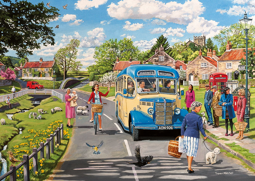 THE COUNTRY BUS 4 X 500 PC JIGSAW PUZZLE PUZZLE PALACE