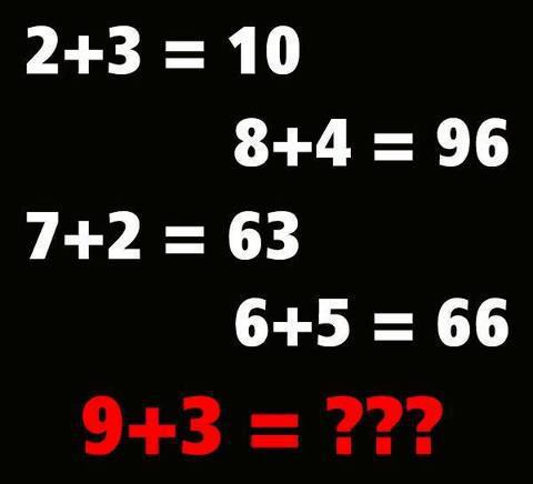 IF  2 + 3 = 10 8 + 4 = 96 7 + 2 = 63 6 + 5 = 66 then 9 + 3 = ?