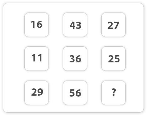 16, 43, 27 11, 36, 25 29, 56, ?