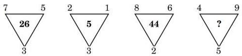 3,7,5=>26 3,2,1=>5 2,8,6=>44 5,4,9=>?