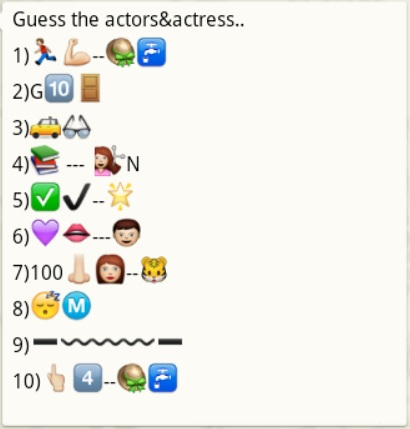Guess the actor and actresses name from whatsapp emoticons and smileys