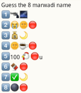 Guess marwadi names from whatsapp emoticons