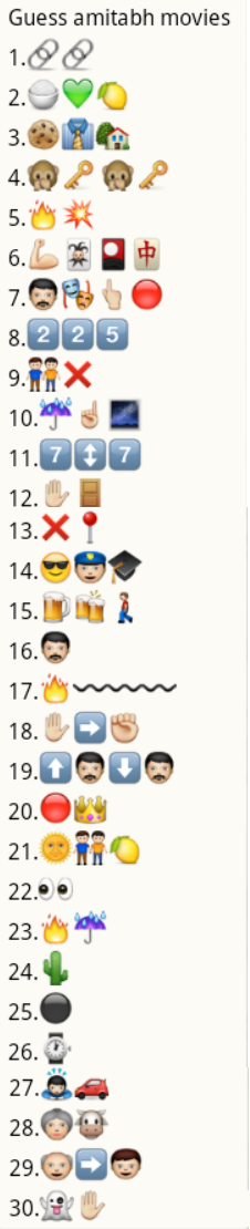 guess amitabh movie names from whatsapp emoticons