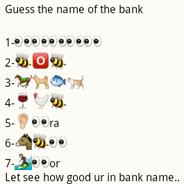 Guess name of the banks from whatsapp emoticons puzzle
