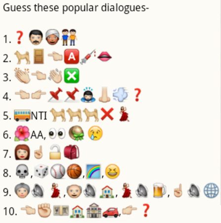 Guess popular dialogues from whatsapp emoticons