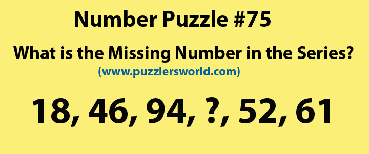 Find missing number 18, 46, 94,___,52, 61