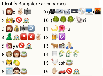 identify bangalore area names from whatsapp emoticons