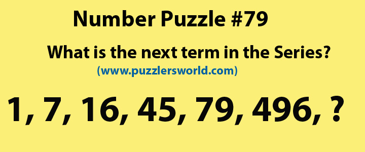 what is the next term in the series 1, 7, 16, 45, 79, 496,???