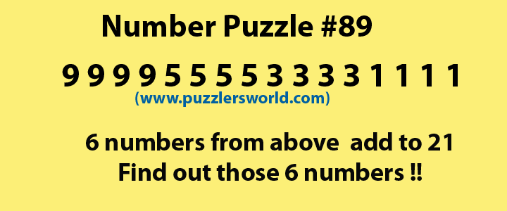 6 numbers add to 21, Number Puzzle #89