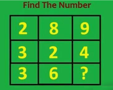 Find the number 2,8,9 3,2,4 3,6,?