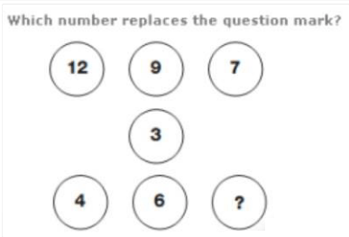 12,9,7,3,4,6 which number replaces
