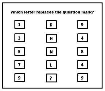 which-letter-replaces 1-k-9|3-H-4|5-N-8|7-L-4|9-?-9