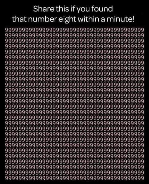 find number eight within a minute