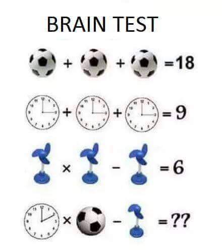 Math Puzzle - Wall Clock x Football - Table Fan = ? - PuzzlersWorld com