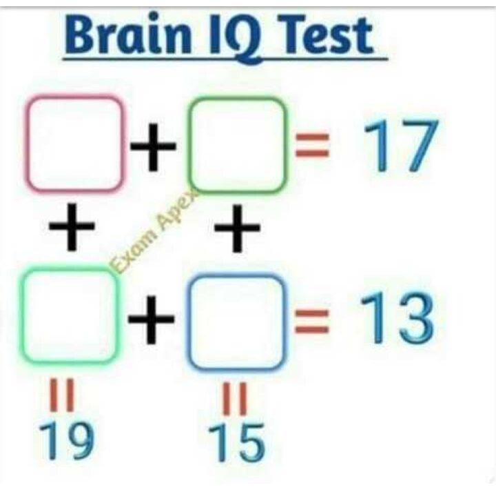 A+B=17 C+D = 13, A+C=19 B+D=15