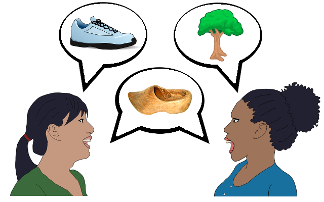 Meeting in the Middle two women talking playing game shoe tree wooden shoe