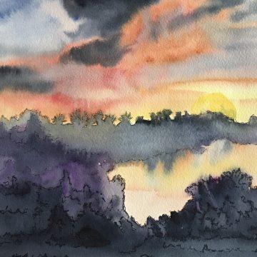"""Covid Sunset by Maria Zamudio, Watercolor 9"""" x 12"""""""
