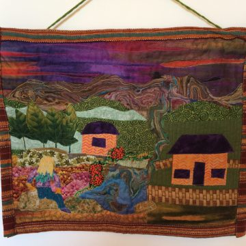 "From A Distance by Gaby Litsky, Fabric Art Quilt 15"" x 18.5"""