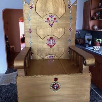 Cardboard Throne by Gretchen Regenhardt, Cardboard