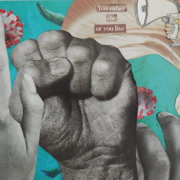 """Covid Quandary by Judith Ann Nilsen, Collage on 8.5"""" x 11"""" Paper"""