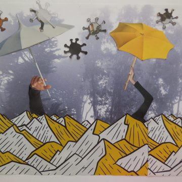 "Sheltering in Place by Judith Ann Nilsen, Collage on 8.5"" x 11"" Paper"