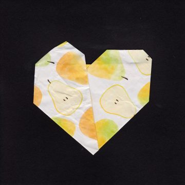 "Broken Heart by Larissa Balsley, Mixed Media: Origami/Artist Tiles 6"" x 6"""