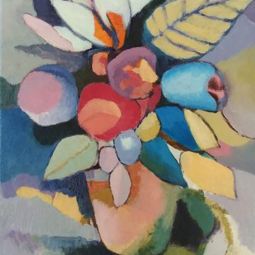 """Bouquet with Lily by Laura Crosser, Oil Painting 12"""" x 9"""""""