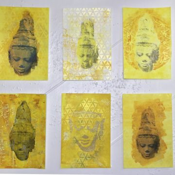 """The Art of Compassion: Solstice to Solstice Art Project 108 Paintings of Avalokiteshvara by Laurel Phoenix, 108 art-card (4x6"""", 130lb paper) Acrylic Paintings"""
