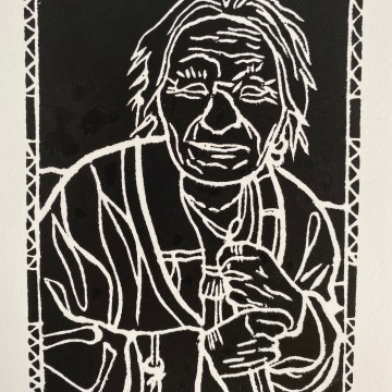 Old, Wise, and Kind by Martine Mahoudeau, Block-print