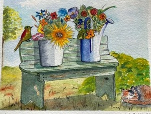 "Bench by Teresa Ronsse, Watercolor 4"" x 5"""