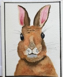 "Rabbit by Teresa Ronsse, Watercolor 4"" x 5"""