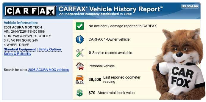 CarFax Vehicle Reports - Portola Valley Garage