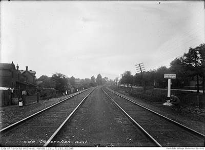 1910 Aug.4, 1910 - Looking west along the Grand Trunk railway from Dunn Ave.; Springhurst Ave. is seen at the right._tn