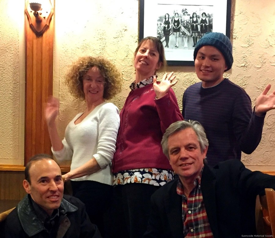 Founders of the Sunnyside Historical Society serving Roncesvalles, Parkdale, Brockton and our First Peoples. 2016-01-28. Left to right Daryl Landau, Mona Paris, Megan Edmonds, Jack Gibney and Jared Ong.