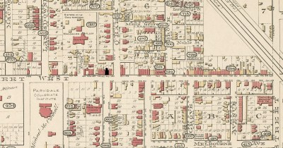 2 b 1890 Goad's Insurance Map of Parkdale. 1408 and 1410 Queen St W are indicated in black. they are at the top of Dunn Ave. The major buildings are labeled.