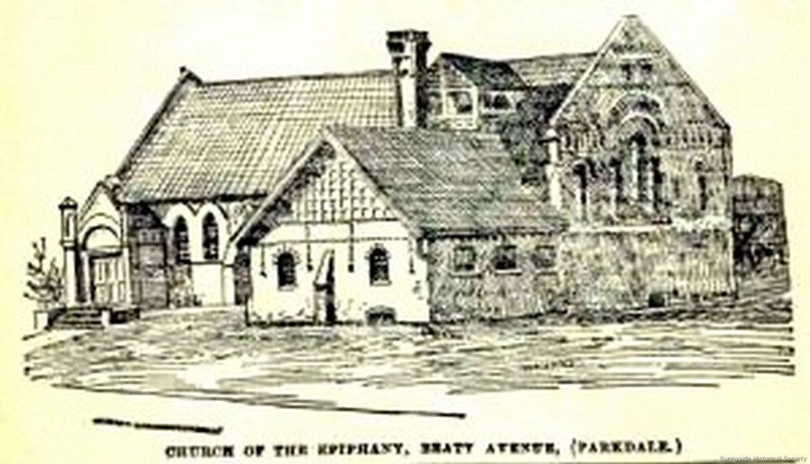 Queen Street Beaty Av south-west cor 1887 The first Ch of the Epiphany. Small part in foreground its mother church, St Mark's