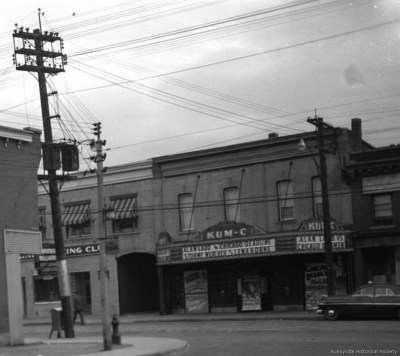 q 1290 Queen St W 1950 The Kum-C Theatre , June 28th 1950. The bloody murder of Keith Hunter is being investigated. (3)