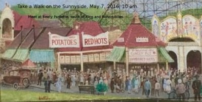 """3. Take a Walk on the Sunnyside. Jane's Walk. Beaty Parkette-south side of King May 7, 2016, 10:00 AM, 1.5 Hours About This Walk """"Parks are not spaces that are given to deprived populations of cities. Rather, parks are deprived spaces that are given life by the interaction with"""" villages large and small. - Jane Jacobs. In the 1920s Sunnyside was bursting with life. Now with no bridge to Queen and Roncesvalles, the park is lightly populated. Would Jane Jacobs say we as a community have come together to balance parks versus parking lots and lawns?"""